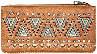 Montana West Aztec Embroidered Secretary Style Wallet
