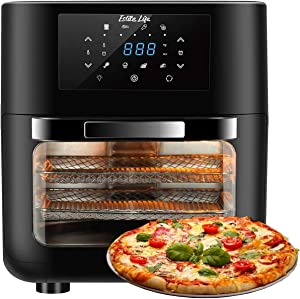 ESLITE LIFE 8-in-1 Air Fryer Oven 1700W Convection Toaster Oven with Rotisserie, built-in Smart Cooking Programs Fry,Roast, Dehydrate & Bake, Auto Shutoff,Digital Touchscreen, 12.7 Quart, 6 Accessories, Black