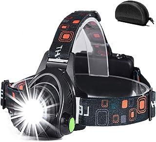 Led-hoofdlamp, oplaadbaar via USB, hoofdlamp, hoofdlamp met 3 lichtmodi, 90 graden instelbaar, waterdicht, zoombaar, hoofd...