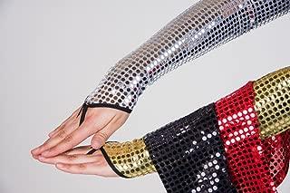 Generique - Generique - Disko-Handschuhe fingerlos mit Pailetten Silber