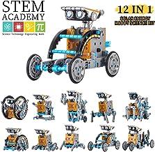 Wenosda Giocattolo Robot Solare STEM Giocattolo educativo per l'edilizia 12 in 1 Kit di esperimenti scientifici Fai-da-Te 190 Pezzi Coding Robot Set di ingegneria Realizzato da Sun per Bambini
