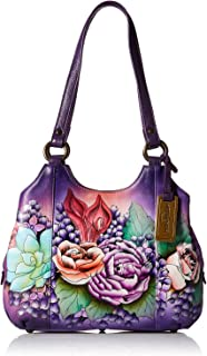 Anuschka Women's Hand Painted Genuine Leather Triple Compartment Satchel