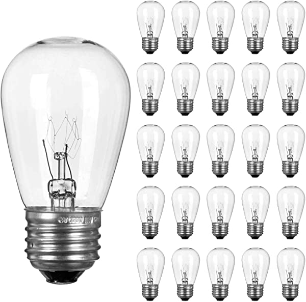 Pack Of 26pcs S14 Light Bulbs For String Lights 11 Watt E26 Medium Candelabra Screw Base S14 Warm Replacement Clear Glass Bulbs For Commercial Grade Outdoor Patio Garden Vintage String Lights