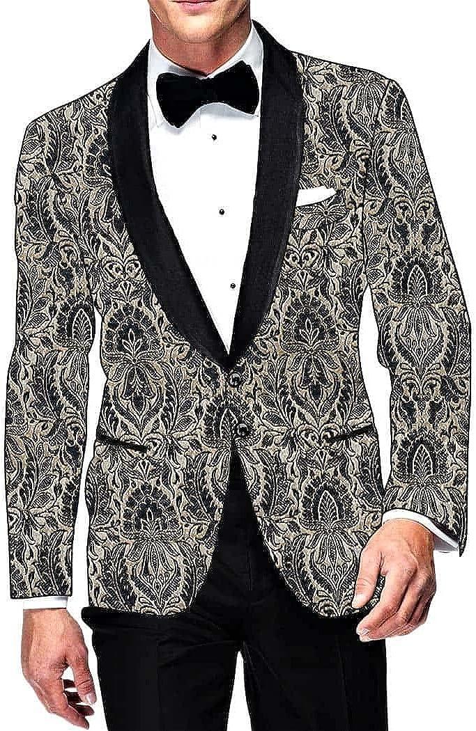 INMONARCH Mens Slim fit Casual Black and Cream Kimkhab Blazer Sport Jacket Coat Two Button SB011301