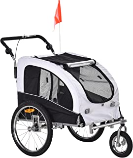 Aosom Elite II Dog Bike Trailer 2-in-1 Pet Stroller Cart Bicycle Wagon Cargo Carrier Attachment for Travel with Suspension...