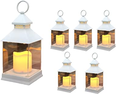 "Just In Time for Spring {6 Pc Set} 10"" Decorative Lanterns With Flameless LED Lighted Candle - 5 Hr Timer Modern Look Indoor Outdoor for Home, Garden, Patio, Party Lights, Weddings - White"