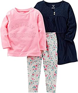 Carter's 女童*蓝连衣裙,Totally Brilliant 上衣和花卉打底裤套装尺码 2T