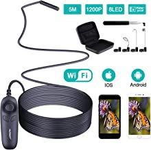 1200P Wireless Endoscope, 5M Borescope Semi-Rigid Cable, Inspection Camera with 8 Adjustable LED Light, 3 in 1 Endoscope WiFi Box for iPhone, Android; IP67 Waterproof Snake Camera & 3 Accessories