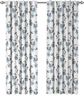 Blue and White, Curtains Energy Efficient, Retro Styled Botanical Arrangement with Bluebell Flowers, Curtains for Kitchen, W84 x L96 Inch, Pale Blue Dark Brown White