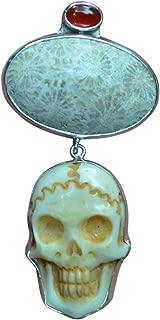 Skull Fossil Coral Carnelian Sterling Silver 925 Pendant
