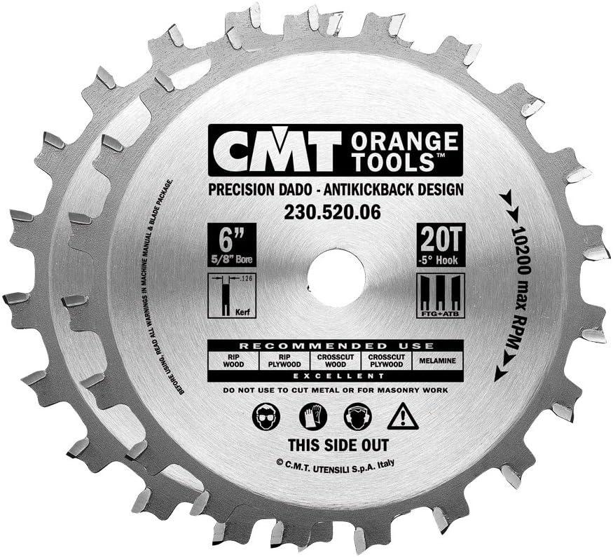 4 years warranty CMT 230.520.06 Precision Dado Set 6-Inch 20 Max 81% OFF Gri Teeth FTG+ATB x