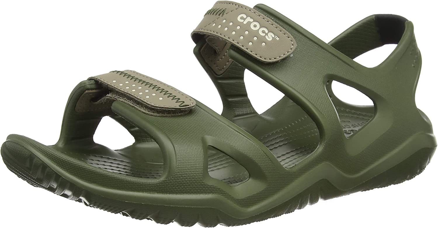 Crocs Men's Swiftwater River Croslite Hook & Loop Sandal Army Green Khaki