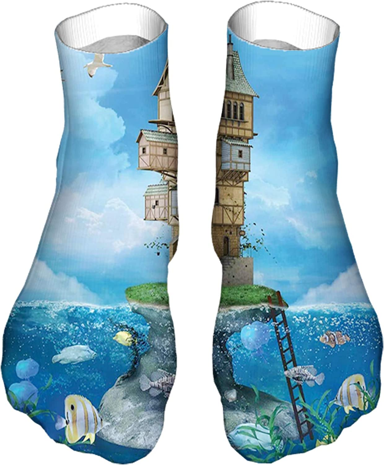 Women's Colorful Patterned Unisex Low Cut/No Show Socks,Fantasy Fisherman House Fairytale Underwater Life Fishes