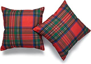 Hofdeco Decorative Throw Pillow Cover ONLY, Red Royal Stewart Scottish Tartan Plaid (Canvas), 18