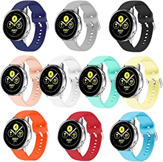 HSWAI 10 Colors Galaxy Watch Active Bands,20mm Replacement Bands Compatible for Galaxy Watch Active 40mm/ Galaxy Watch Active2/ Gear Sport S4 (R600)/ Galaxy Watch 42mm/ Gear S2 Classic
