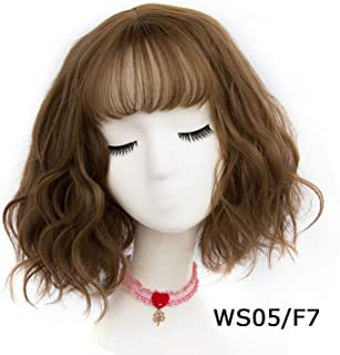 43 Colors Synthetic Short Wavy Wigs With Bangs For Womens Black Brown Natural Hair Full Wigs Hairstyles,WS 05 F7,12inches