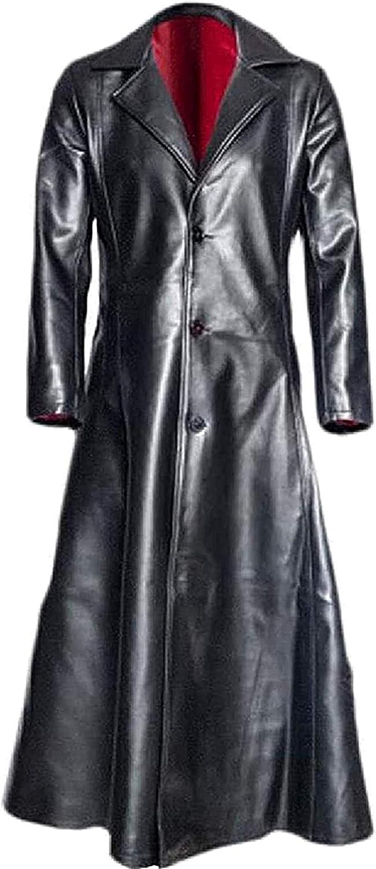 Mens Single Breasted Super Special SALE Award held Outdoor Faux Jacke Leather Long Windbreaker