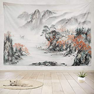 Japanese tapestry, Mountain Tapestry 80 X 60 Inches Tapestry Wall Hanging Interior Decorative Pink Cherry Chinese Landscap...