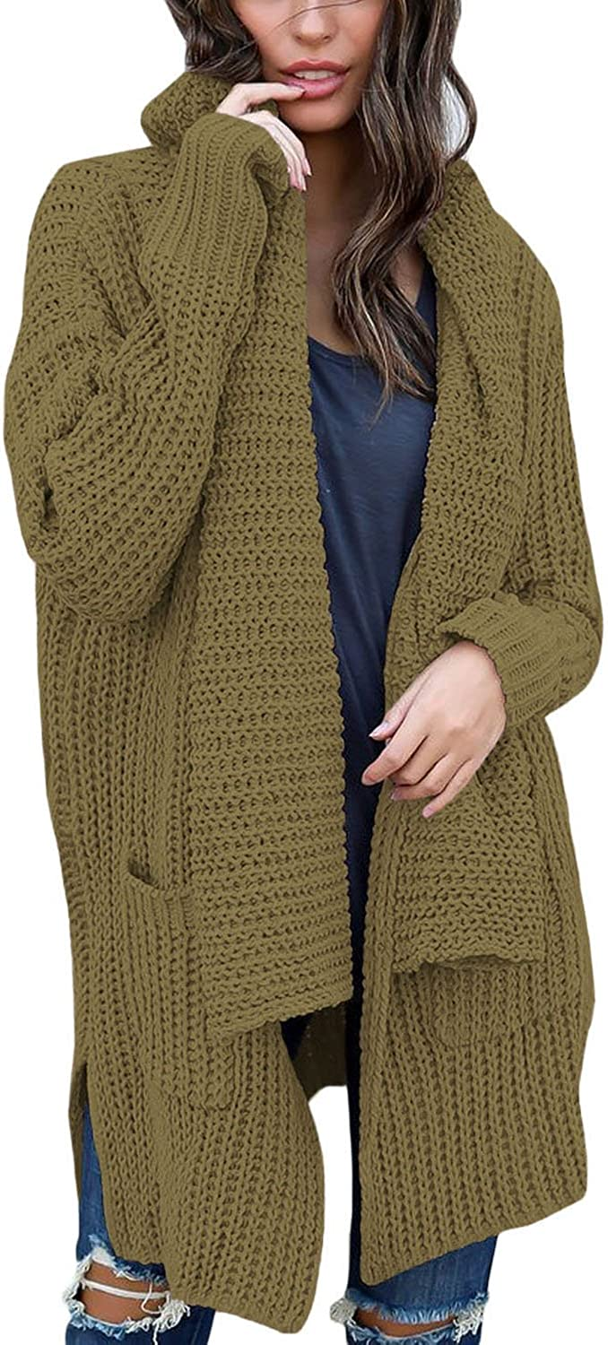 BLENCOT Women's Long Sleeve Shawl Neck Sweater Open Front Chunky Cardigan Pockets