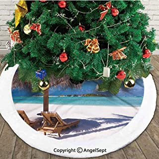 Island Caribbean Honeymoon Themed Beach Seashore Ocean Print,Useful Christmas Tree Skirt,White Light Brown and Turquoise,30 inches,Printed Pictures Decorations Indoor Outdoor