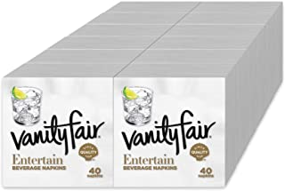 Vanity Fair Entertain Paper Napkins, Beverage Cocktail Size, Classic White, 480 Count
