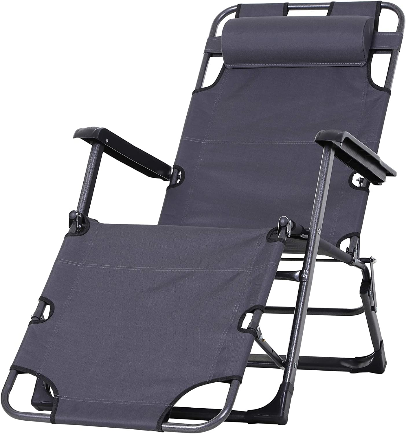 Outsunny Outdoor Folding New Orleans Mall Quality inspection Reclining Lounge Patio Beach Oxf Chairs