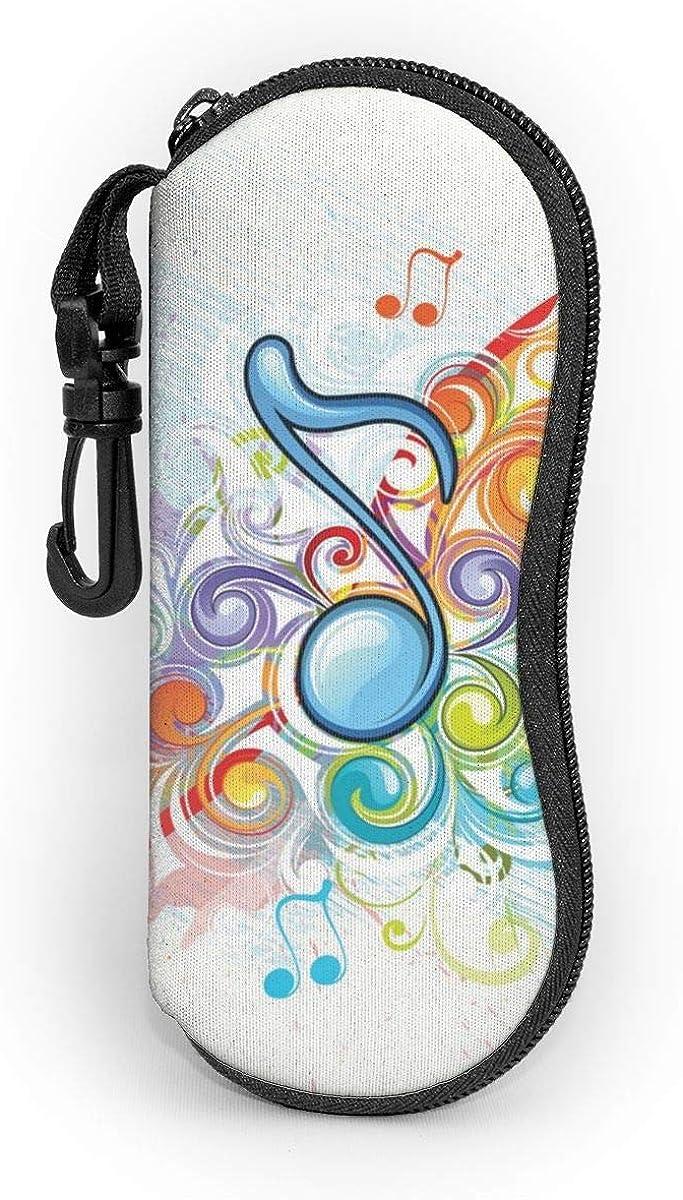 CHILL·TEK Music Notes Men's Eyeglasses Case With Carabiner - Lightweight | Portable | Soft | Neoprene Zipper Sunglasses Case