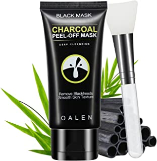 Black Mask Charcoal Peel Off Mask with Facial Brush - Blackhead Remover Purifying Peel off Mask with Facial Brush, Activated Charcoal Deep Cleansing for Face Nose Acne Treatment Oil Control (50g)