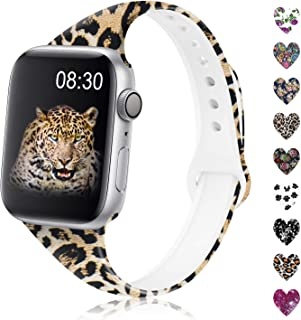 DYKEISS Pattern Printed Slim Silicone Band Compatible with Apple Watch 38mm 42mm 40mm 44mm, Fadeless Floral Thin Narrow Sport Replacement Strap Wristband for iWatch Series 5/4/3/2/1 Women Men, Leopard