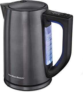 Hamilton Beach 1.7 Liter Variable Temperature Electric Kettle for Tea and Hot Water, Cordless, LED Indicator, Auto-Shutoff, Keep Warm and Boil-Dry Protection, Black Stainless Steel (41027),
