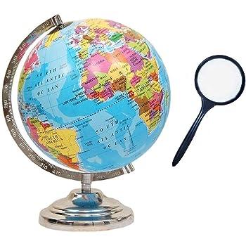 GeoKraft Educational Political Laminated 8 Inches Rotating World Globe with Steel Finish Arc and Base / World Globe / Home Decor /Office Decor / Gift Item (Blue)