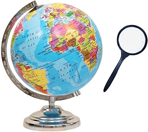 GeoKraft Educational Political Laminated 8 Inches Rotating World Globe with Steel Finish Arc and Base / World Globe /...