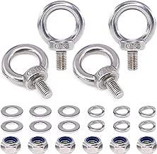 Swpeet 22Pcs 304 Stainless Steel M10 Male Thread Lifting Ring Eye Bolt Kit, Including 4Pcs M10 Eye Bolt with 6Pcs Lock Nuts, 6Pcs Lock Washers and 6Pcs Flat Washers