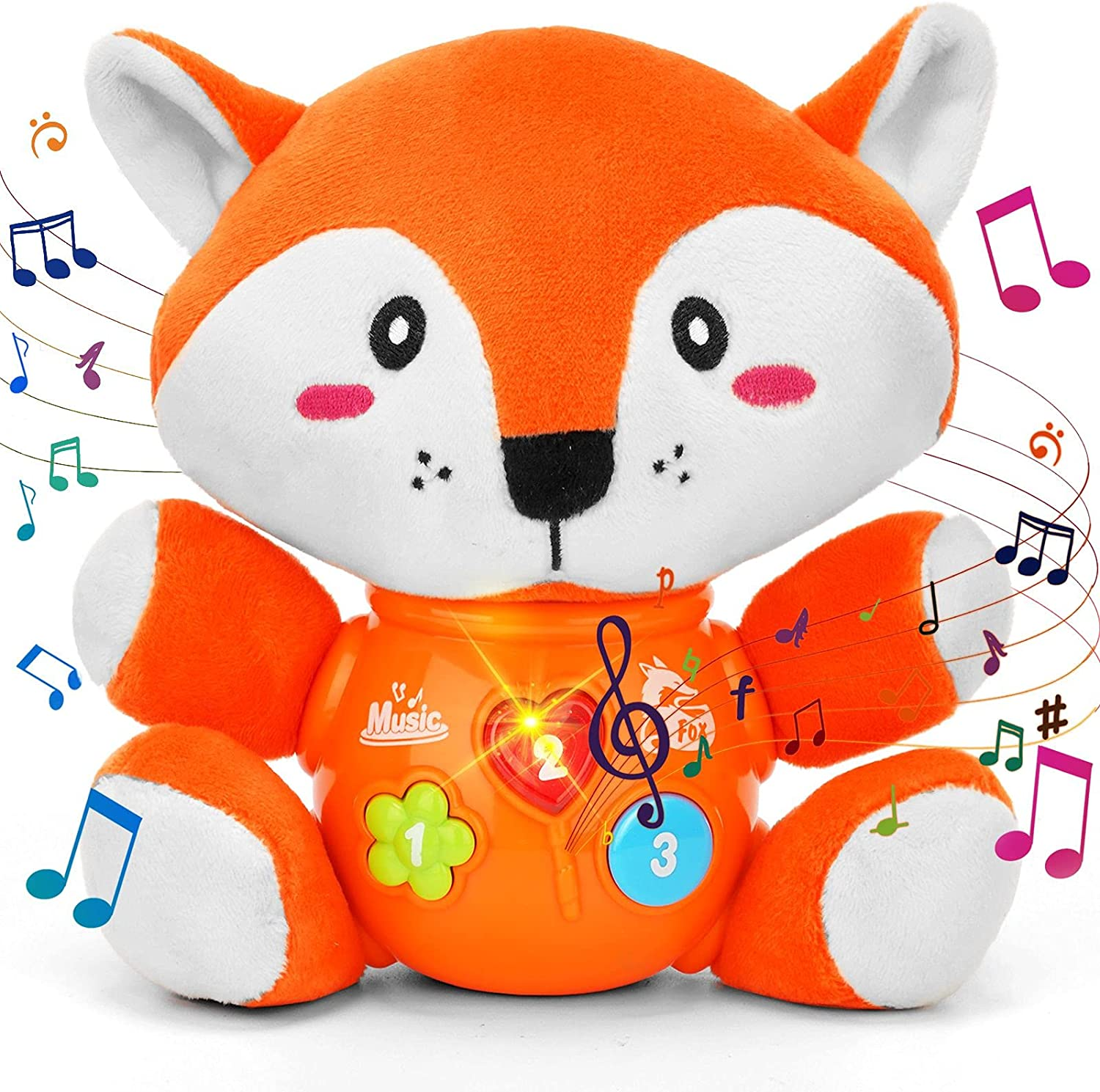daboot Musical Baby Toys, Cute Fox Baby Newborn Toys for Toddlers Babies 0 3 6 9 12 Month, Infants Baby Toy for Girls and Boys Best Gift