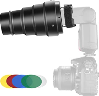 Neewer Aluminium Alloy Conical Snoot Kit with Honeycomb Grid and 5 Pieces Color Gel Filters for Canon Nikon TT560 NW561 NW562 NW565 NW620 NW630 NW680 NW670 750II NW910 NW880 Flash Speedlites