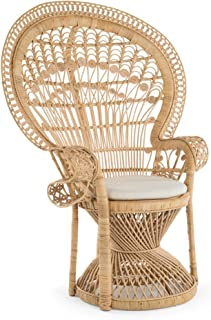 Kouboo 1110022 Pecock Grand Peacock Chair in Rattan with Seat Cushion, Natural Color, Large