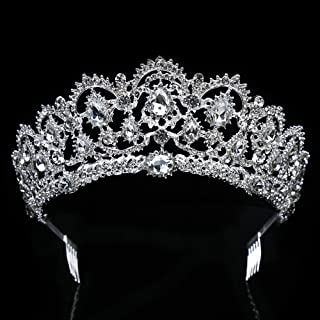 ThyWay Vintage Crystal Diamond Bride Bridal Wedding Hair Head Band Wear Rhinestone Jewelry Headdress Headband Tiara Coronal Big Crown Pageant (Style 1)