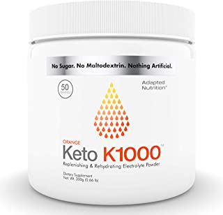 Keto K1000 Electrolyte Powder | Boost Energy & Beat Leg Cramps | No Maltodextrin or Sugar | Orange, Lighter Stevia Taste | 50 Servings