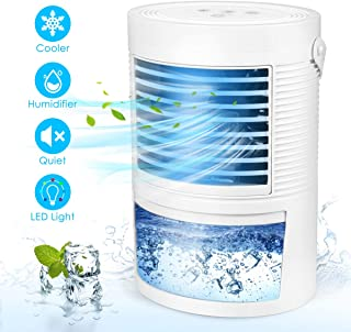 Personal Air Conditioner, Ultra-Quiet Air Conditioners for Portable Humidifier & Purifier Space Air Cooler for Home Room Office, LED Night Light + 3 Wind Speeds
