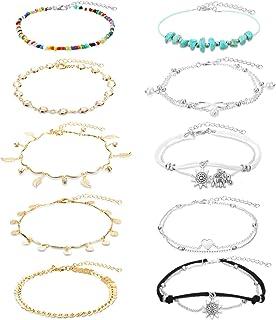 Hicarer 10 Pieces Boho Layered Ankle Bracelets Beach Color Beads Turquoise Drop Sequin Charm Ankle Chains Bracelets Adjust...