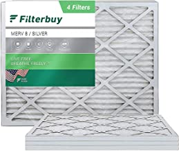 FilterBuy 20x25x1 Air Filter MERV 8, Pleated HVAC AC Furnace Filters (4-Pack, Silver)