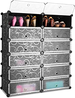 Tangkula Shoe Rack 12-Cube DIY Plastic Shoe Cabinet Storage Multi Use Modular Closet Shelves Shoe Organizer with Doors