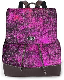 SGSKJ Rucksack Damen Beunruhigtes Lila, Leder Rucksack Damen 13 Inch Laptop Rucksack Frauen Leder Schultasche Casual Daypack Schulrucksäcke Tasche Schulranzen