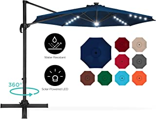 Best Choice Products 10ft 360-Degree LED Cantilever Offset Hanging Market Patio Umbrella w/Easy Tilt - Navy Blue