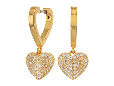 Kate Spade New York Heart To Heart Pave Huggies Earrings (Clear/Gold) Earring