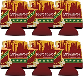 VictoryStore Can and Beverage Coolers - Kappa Sigma, Grunge Design, Set of 6