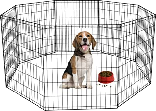 """BestPet 30"""" Tall Dog Playpen Crate Fence Pet Kennel Play Pen Exercise Cage 8 Panel Black"""