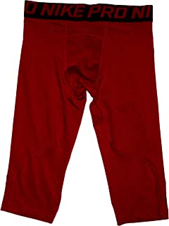 Nike Pro Boys Training Tights 3/4 Length Large Polyester Red