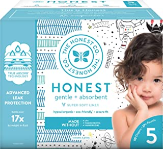The Honest Company Club Box Diapers with TrueAbsorb Technology, Teal Tribal & Space Travel, Size 5, 50 Count