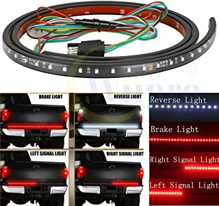 Wiipro 60'' Truck Tail Brake Lights Strip Red/White Reverse Turn Signals Bulb for Trailer Pickup SUV Ford GMC Toyota 4x4 Dodge Ram Chevy chevrolet Silverado